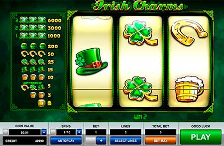 Irish Charms spilleautomat fra Pragmatic Play i FortuneJack casinospillvalg.